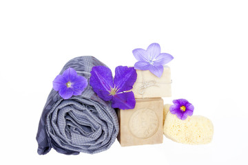 Natural care.Bath background.Vegetal soaps and sponge.