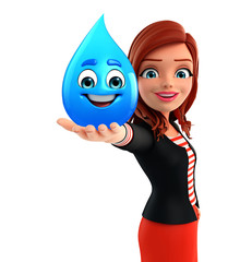 Young Corporate lady with water drop