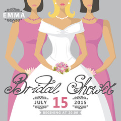 Bridal Shower invitation.European bride and two bridesmaids