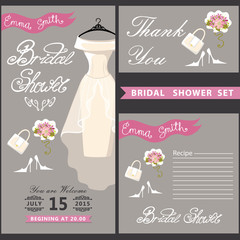 Bridal Shower card.Cute wedding invitation with flowers