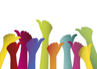 Colorful hands on white background