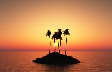 palm tree island at sunset