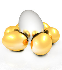 Big egg and gold eggs