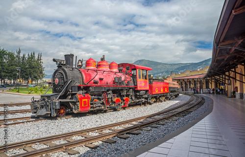 old locomotive train on a railroad track - 67968258