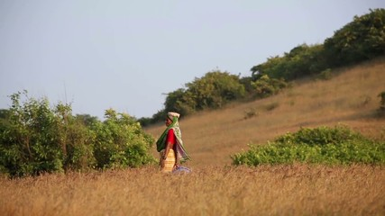 old woman on field