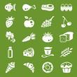 white food icons set