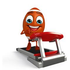 Rubgy ball character with walking machine