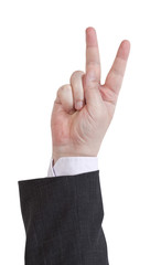 two fingers counting - hand gesture