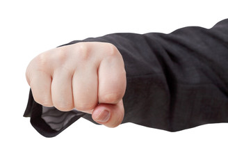 front view of fist punch - hand gesture