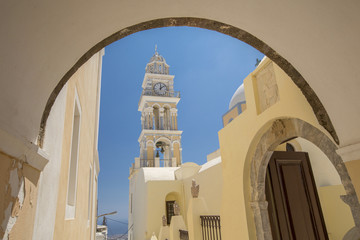 belfry through arc on Santorini
