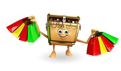 Treasure box character with shopping bag
