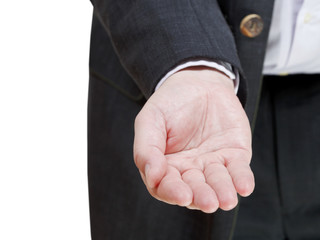 businessman stretches handful - hand gesture