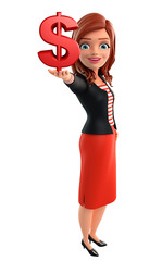 Young Corporate lady with dollar sign