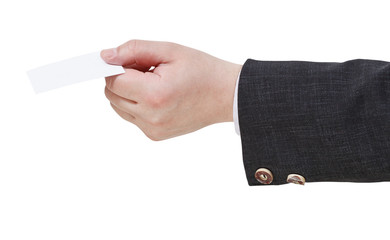 blank business card in male hand