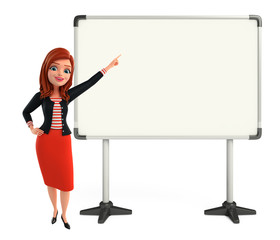 Young Corporate lady with display board