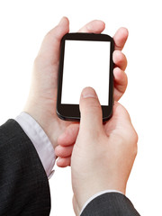 smartphone cut out screen in businessman hands