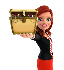 Young Corporate lady with treasure box