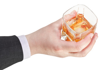 above view of whiskey glass in businessman hand