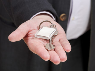blank door key ring on male palm