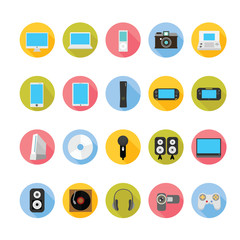Gadgets and entertainment icons set. Illustration eps10