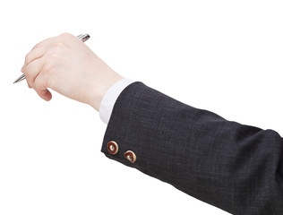 businessman hand with silver pen