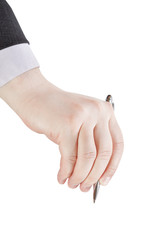 businessman hand with metal pen