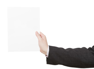 blank sheet of paper in coach hand