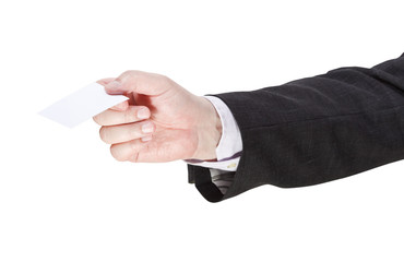 blank business card in salesman hand