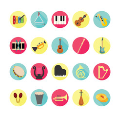 Music instruments icons set. Illustration eps10