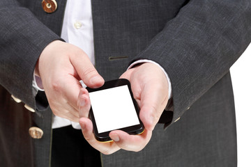 smartphone with cut out screen in businessman hand