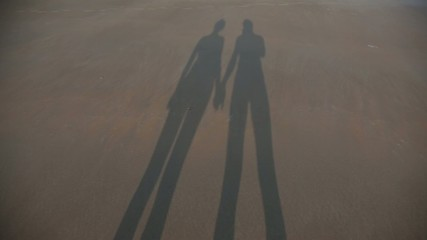 Shadow of couple in love