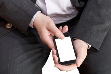 above view of smart phone in businessman hand