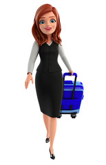 Young Business Woman with traveling bag