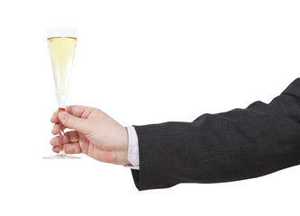 side view of champagne glass in male hand