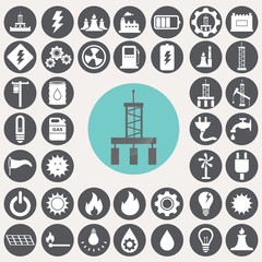 Energy and industry icons set. Illustration eps10