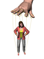 female figure is dependent on the dexterity of a large hand