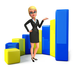 Young Business Woman with business graph