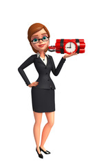Young Business Woman with bomb