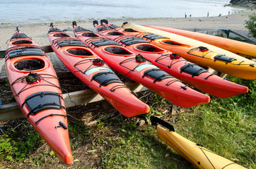 Line up of kayaks by the beach