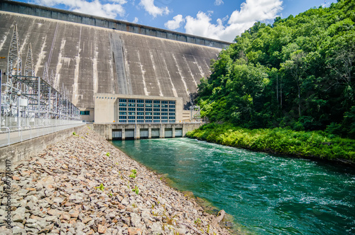 views of man made dam at lake fontana great smoky mountains nc - 67970417