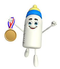 Baby Bottle character with gold medal