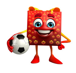 Gift Box Character with football