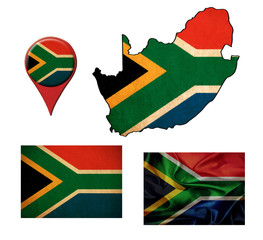 South Africa flag, map and map pointers