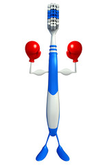 Toothbrush Character with Boxing Gloves