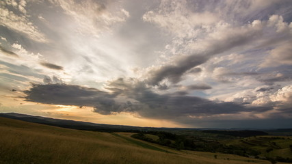 Transylvania meadows dramatic sky time lapse 4K