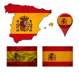 Spain flag, map and map pointers
