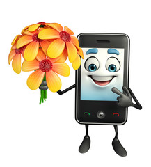 Mobile character with flower