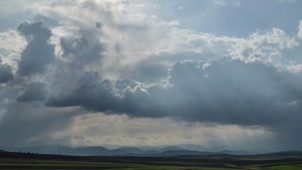 Transylvania, thunder storm over rolling landscape 4K UHD