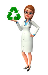 Young Doctor with recycle sign