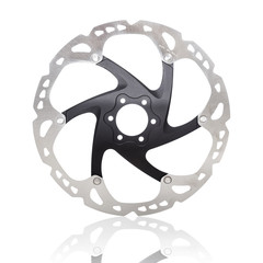 Disk brake of a mountain bike isolated on white